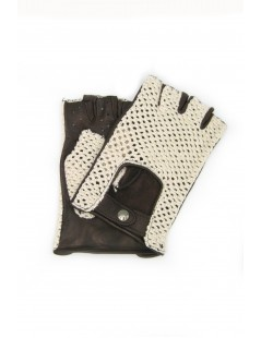Driving gloves in Nappa leather fingerless with Rope Dark Brown