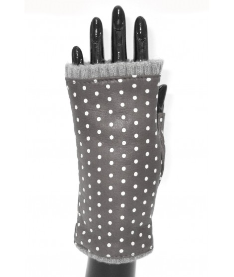 Half Mitten in Nappa leather with polka dots cashmere lined Tan