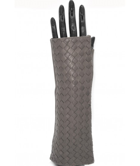 """Nappa glove fingerless 6BT """"Criss Cross"""" Navy blue Sermoneta"""