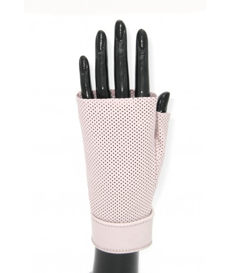 Gloves in perforated Nappa unlined fingerless Pink Orchid