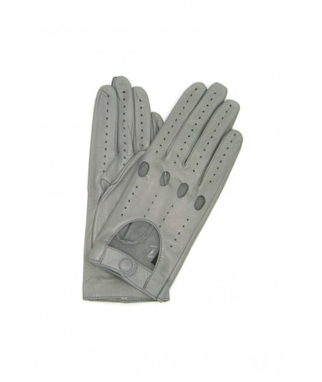 Driving gloves in Nappa Leather Pearl Grey Sermoneta Gloves