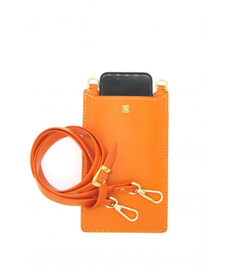 Cell Phone Holder in Nappa leather Orange/Stud+Hooks Gold